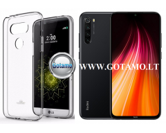 Mercury Jelly dėklas nugarėlė Xiaomi Redmi Note 8T telefonui skaidrus