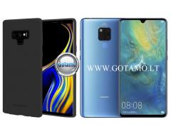 Mercury Soft Feeling dėklas nugarėlė Huawei Mate 20 telefonui juodos spalvos