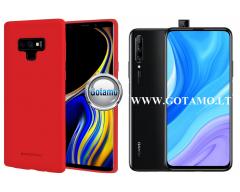 Mercury Soft Feeling dėklas nugarėlė Huawei P Smart Pro (2019) Huawei Y9 Prime telefonui raudonos spalvos