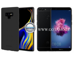 Mercury Soft Feeling dėklas nugarėlė Huawei P Smart telefonui juodos spalvos