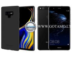 Mercury Soft Feeling dėklas nugarėlė Huawei P10 Lite telefonui juodos spalvos
