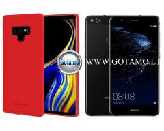 Mercury Soft Feeling dėklas nugarėlė Huawei P10 Lite telefonui raudonos spalvos