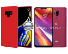 Mercury Soft Feeling dėklas nugarėlė LG G7 ThinQ telefonui raudonos spalvos