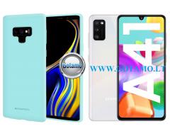 Mercury Soft Feeling dėklas nugarėlė Samsung Galaxy A41 telefonui mėtinės spalvos