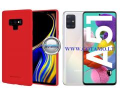 Mercury Soft Feeling dėklas nugarėlė Samsung Galaxy A51 telefonui raudonos spalvos