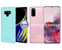Mercury Soft Feeling dėklas nugarėlė Samsung Galaxy S20 telefonui mėtinės spalvos