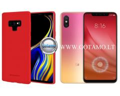 Mercury Soft Feeling dėklas nugarėlė Xiaomi Mi 8 Lite Xiaomi Mi 8X telefonui raudonos spalvos