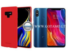 Mercury Soft Feeling dėklas nugarėlė Xiaomi Mi 8 Xiaomi Mi 8 Pro telefonui raudonos spalvos