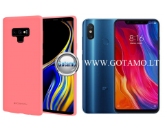 Mercury Soft Feeling dėklas nugarėlė Xiaomi Mi 8 Xiaomi Mi 8 Pro telefonui rožinės spalvos