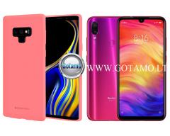 Mercury Soft Feeling dėklas nugarėlė Xiaomi Redmi Note 7 Xiaomi Redmi Note 7 Pro telefonui rožinės spalvos