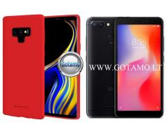 Mercury Soft Felling dėklas nugarėlė Xiaomi Redmi 6 6A telefonui raudonos spalvos