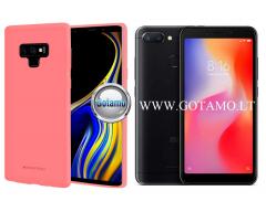 Mercury Soft Felling dėklas nugarėlė Xiaomi Redmi 6 6A telefonui rožinės spalvos