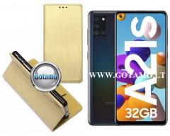 Re-Grid magnetinis dėklas Samsung Galaxy A21s mobiliesiems telefonams aukso spalvos