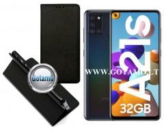Re-Grid magnetinis dėklas Samsung Galaxy A21s mobiliesiems telefonams juodos spalvos