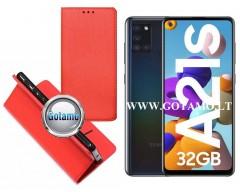 Re-Grid magnetinis dėklas Samsung Galaxy A21s mobiliesiems telefonams raudonos spalvos