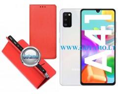 Re-Grid magnetinis dėklas Samsung Galaxy A41 mobiliesiems telefonams raudonos spalvos