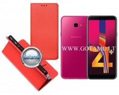 Re-Grid magnetinis dėklas Samsung Galaxy J4+ (2018) telefonams raudonos spalvos