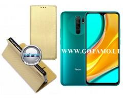 Re-Grid magnetinis dėklas Xiaomi Redmi 9 mobiliesiems telefonams aukso spalvos