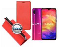 Re-Grid magnetinis dėklas Xiaomi Redmi Note 7, Xiaomi Redmi Note 7 Pro telefonams raudonos spalvos