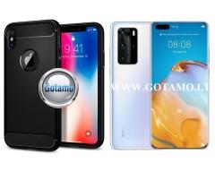 Siege dėklas nugarėlė Huawei P40 Pro mobiliesiems telefonams juodos spalvos