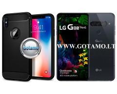 Siege dėklas nugarėlė LG G8S ThinQ mobiliesiems telefonams juodos spalvos