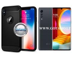 Siege dėklas nugarėlė LG Velvet mobiliesiems telefonams juodos spalvos