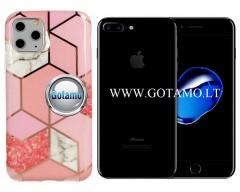 Tiles dėklas nugarėlė Apple iPhone 7 Plus 8 Plus telefonams rožinės spalvos