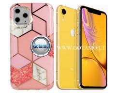Tiles dėklas nugarėlė Apple iPhone XR telefonams rožinės spalvos