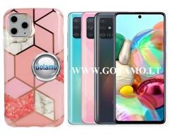 Tiles dėklas nugarėlė Samsung Galaxy A71 telefonams rožinės spalvos