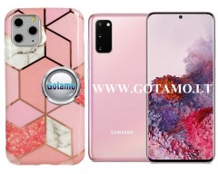 Tiles dėklas nugarėlė Samsung Galaxy S20 telefonams rožinės spalvos