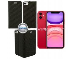 Vennus Diary magnetinis dėklas Apple iPhone 11 telefonams Carbon juodos spalvos
