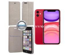 Vennus Diary magnetinis dėklas Apple iPhone 11 telefonams sidabro spalvos