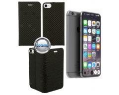 Vennus Diary magnetinis dėklas Apple iPhone 7 8 SE (2020) telefonams Carbon juodos spalvos