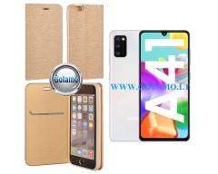 Vennus Diary magnetinis dėklas Samsung Galaxy A41 telefonams aukso spalvos