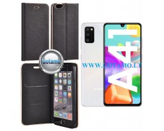 Vennus Diary magnetinis dėklas Samsung Galaxy A41 telefonams juodos spalvos