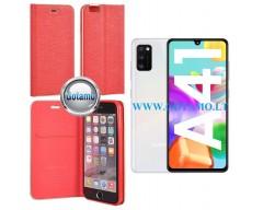 Vennus Diary magnetinis dėklas Samsung Galaxy A41 telefonams raudonos spalvos