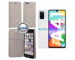 Vennus Diary magnetinis dėklas Samsung Galaxy A41 telefonams sidabro spalvos