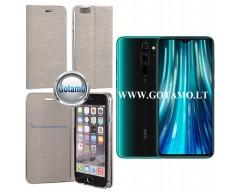 Vennus Diary magnetinis dėklas Xiaomi Redmi Note 8 Pro telefonams sidabro spalvos