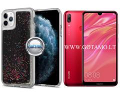 Waterfall dėklas nugarėlė Huawei Y7 (2019) telefonams juodos spalvos su blizgučiais