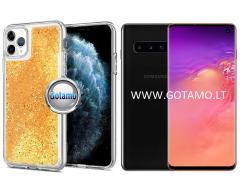 Waterfall dėklas nugarėlė Samsung Galaxy S10 telefonams aukso spalvos