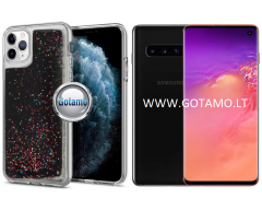 Waterfall dėklas nugarėlė Samsung Galaxy S10 telefonams juodos spalvos su blizgučiais