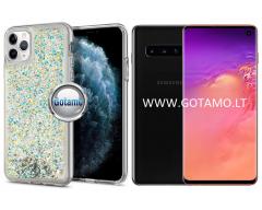 Waterfall dėklas nugarėlė Samsung Galaxy S10 telefonams sidabro spalvos