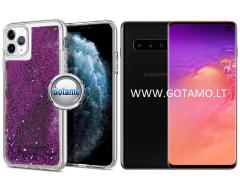 Waterfall dėklas nugarėlė Samsung Galaxy S10 telefonams violetinės spalvos