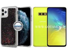 Waterfall dėklas nugarėlė Samsung Galaxy S10e telefonams juodos spalvos su blizgučiais