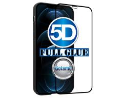 Apsauga ekranui gaubtas grūdintas stiklas Apple iPhone 12, Apple iPhone 12 Pro mobiliesiems telefonams juodos spalvos 5D pilnas padengimas klijais