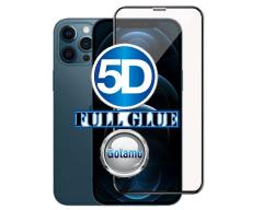 Apsauga ekranui gaubtas grūdintas stiklas Apple iPhone 12 Pro Max mobiliesiems telefonams juodos spalvos 5D pilnas padengimas klijais