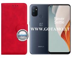 Diary Mate2 dėklas OnePlus Nord N100 mobiliesiems telefonams raudonos spalvos