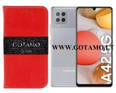 Gotamo D-gravity natūralios odos dėklas Samsung Galaxy A42 5G mobiliesiems telefonams raudonos spalvos