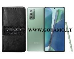 Gotamo D-gravity natūralios odos dėklas Samsung Galaxy Note 20 mobiliesiems telefonams juodos spalvos