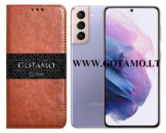Gotamo D-gravity natūralios odos dėklas Samsung Galaxy S21 mobiliesiems telefonams rudos spalvos